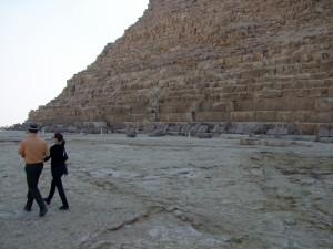 Em and B walking at Giza
